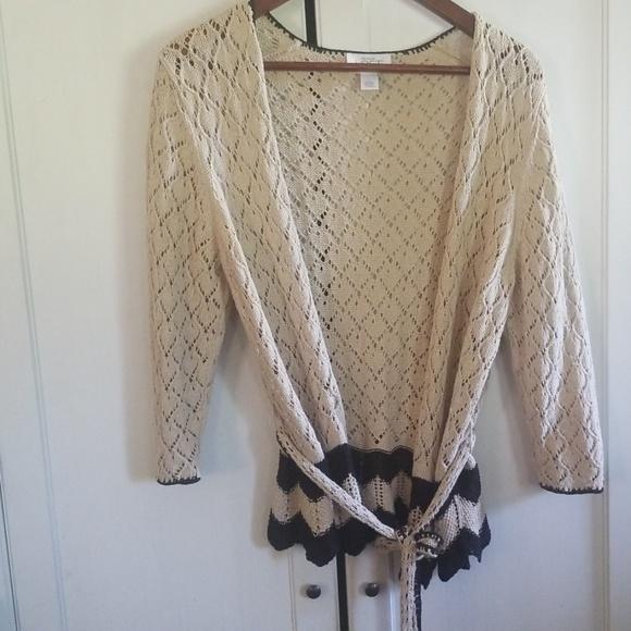 LOFT Sweaters - Loft cover up cardigan tie sweater crochet large